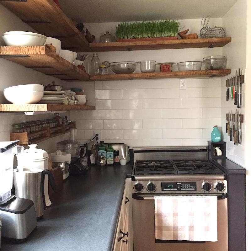 Large Subway Tile Kitchen Backsplash: Farmhouse Kitchen DIY Before & After Makeover
