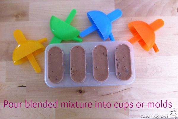 Place the blended mixture into molds then freeze for at least 6 hours or overnight.