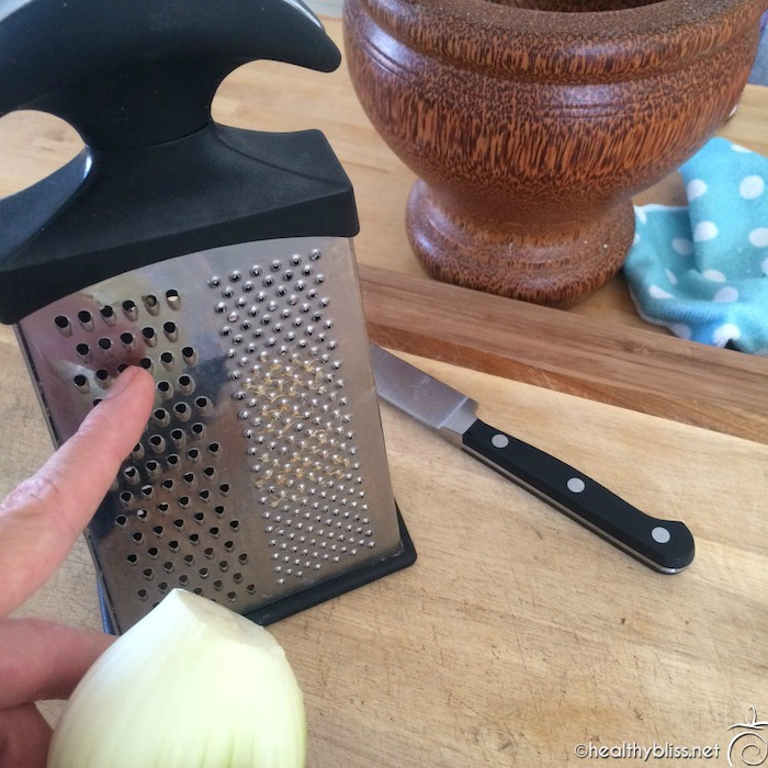 Grate 1 medium onion, add to seeds plus 1 cup water then stir into mix.