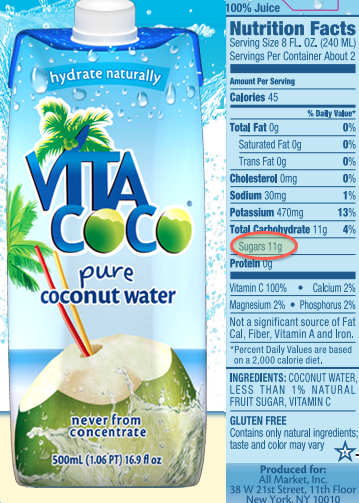11g of sugar in a 8oz serving of this Coconut Water? It's true!
